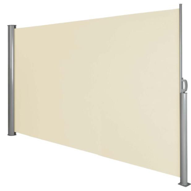 Kihúzható árnyékoló és térelválasztó fal, nap és szél ellen - bézs színben - 160 x 300 cm