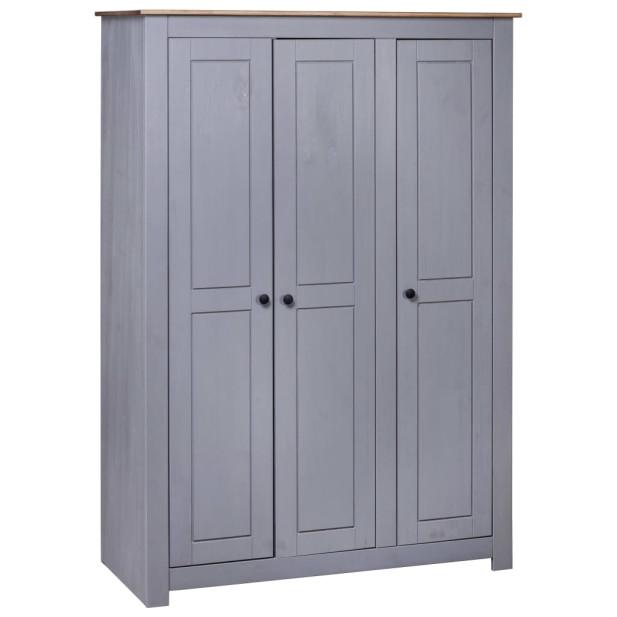 Szürke háromajtós panamafenyő ruhásszekrény 118 x 50 x 171,5 cm - utánvéttel vagy ingyenes szállítással