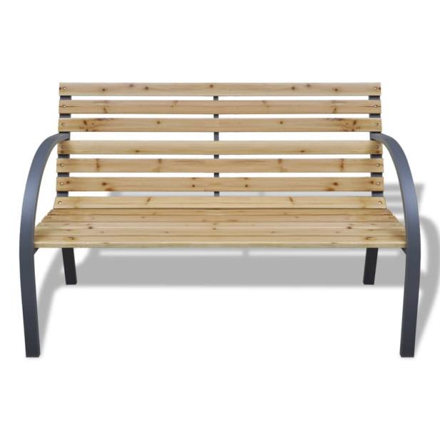 Fa és vas kerti pad 112 cm - utánvéttel vagy ingyenes szállítással
