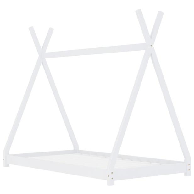 Fehér tömör fenyőfa gyerekágy-keret 90 x 200 cm - utánvéttel vagy ingyenes szállítással