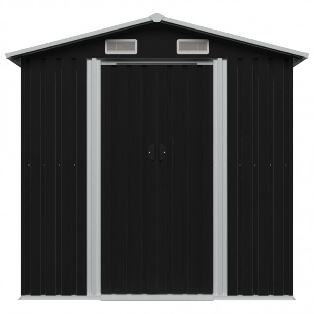 Antracitszürke acél kerti fém fészer 204 x 132 x 186 cm - utánvéttel vagy ingyenes szállítással