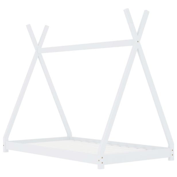 Fehér tömör fenyőfa gyerekágy-keret 80 x 160 cm - utánvéttel vagy ingyenes szállítással