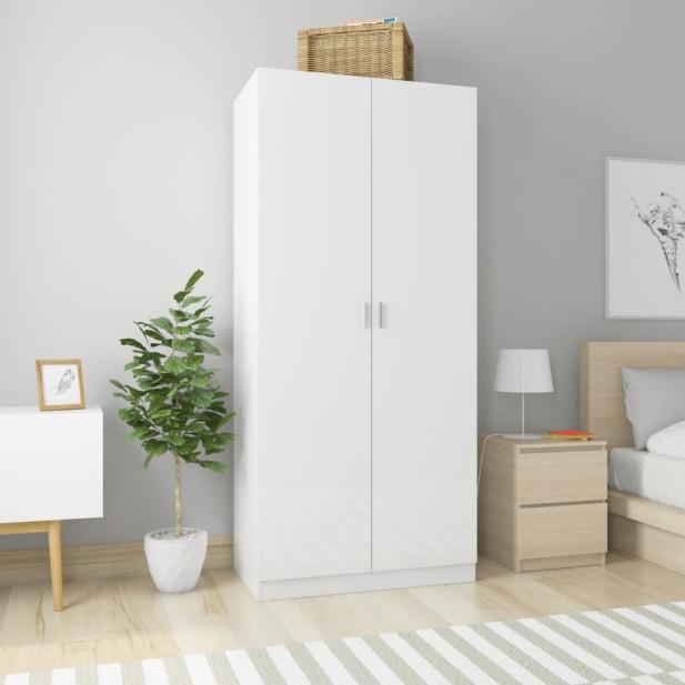 Magasfényű fehér forgácslap ruhásszekrény 90 x 52 x 200 cm - utánvéttel vagy ingyenes szállítással