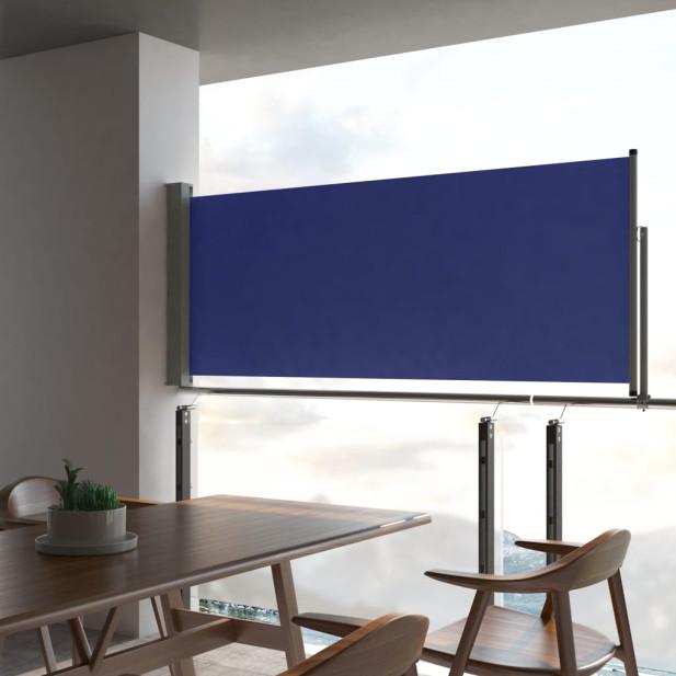 Kék behúzható oldalsó teraszi napellenző 100 x 300 cm - utánvéttel vagy ingyenes szállítással