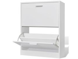 Fehér fa cipőszekrény 2 rekeszes - utánvéttel vagy ingyenes szállítással