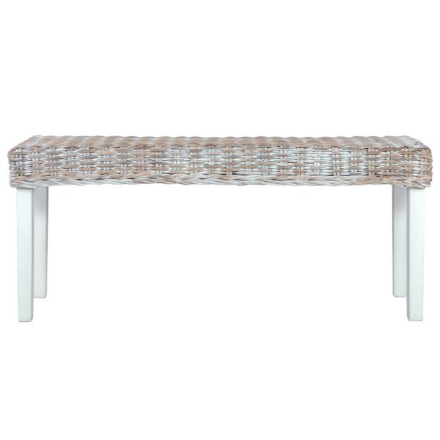 Fehér természetes kubu rattan és tömör mangófa pad 110 cm - utánvéttel vagy ingyenes szállítással
