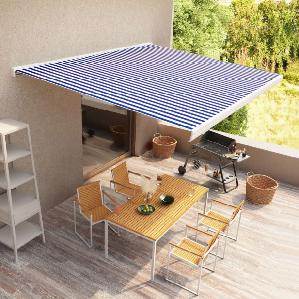 Kék és fehér manuális, kazettás napellenző 300 x 250 cm - utánvéttel vagy ingyenes szállítással