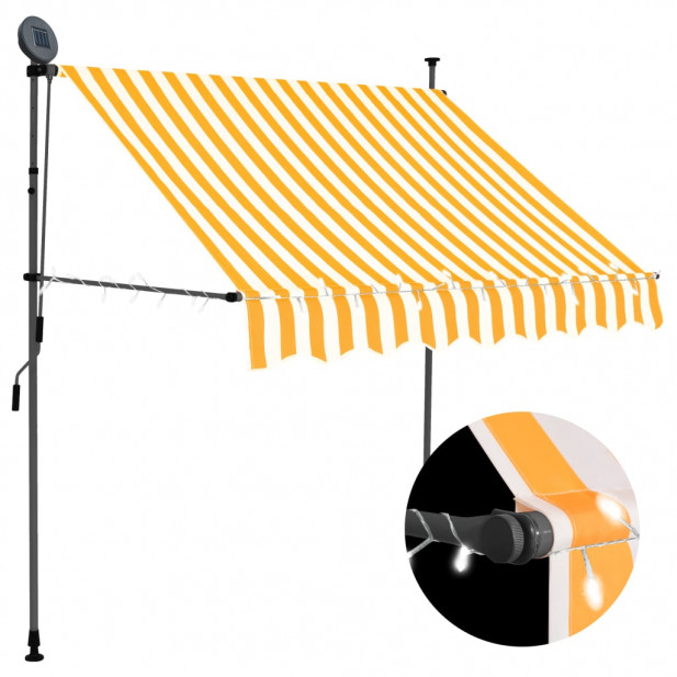 Fehér-narancssárga kézzel kihúzható LED-es napellenző 100 cm - utánvéttel vagy ingyenes szállítással