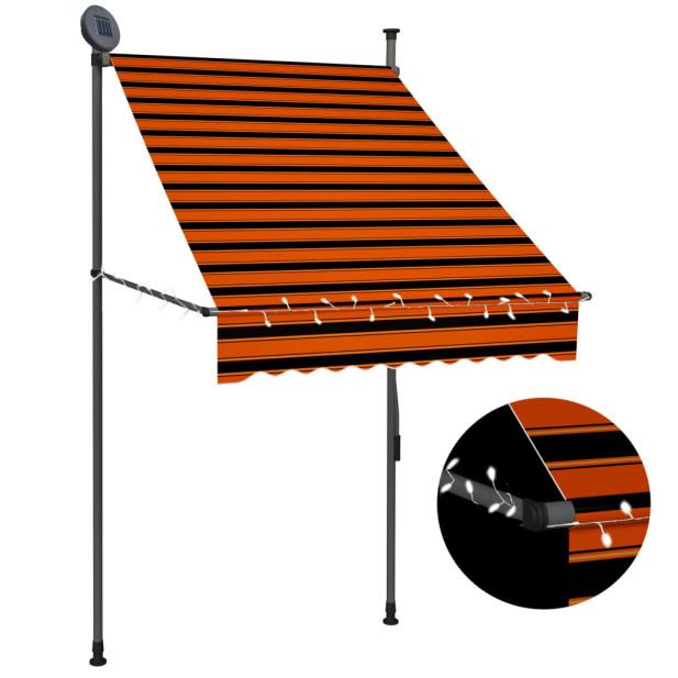 Narancssárga-barna kézzel feltekerhető LED-es napellenző 100 cm - utánvéttel vagy ingyenes szállítással