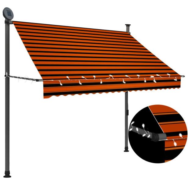 Narancssárga-barna kézzel feltekerhető LED-es napellenző 200 cm - utánvéttel vagy ingyenes szállítással
