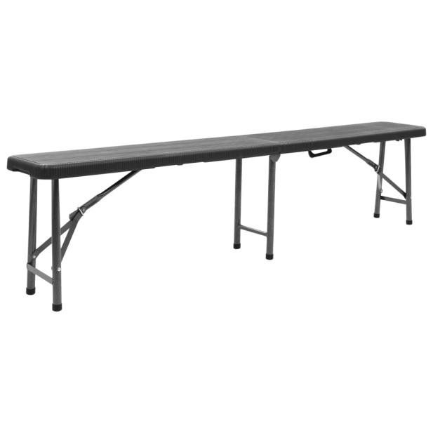 2 db fekete összecsukható HDPE kerti pad 180 cm - utánvéttel vagy ingyenes szállítással