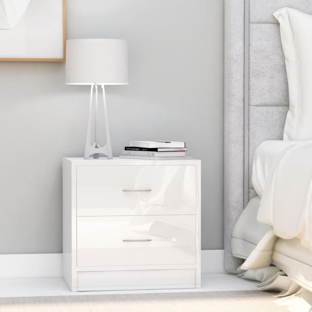 2 db magasfényű fehér forgácslap éjjeliszekrény 40 x 30 x 40 cm - utánvéttel vagy ingyenes szállítással