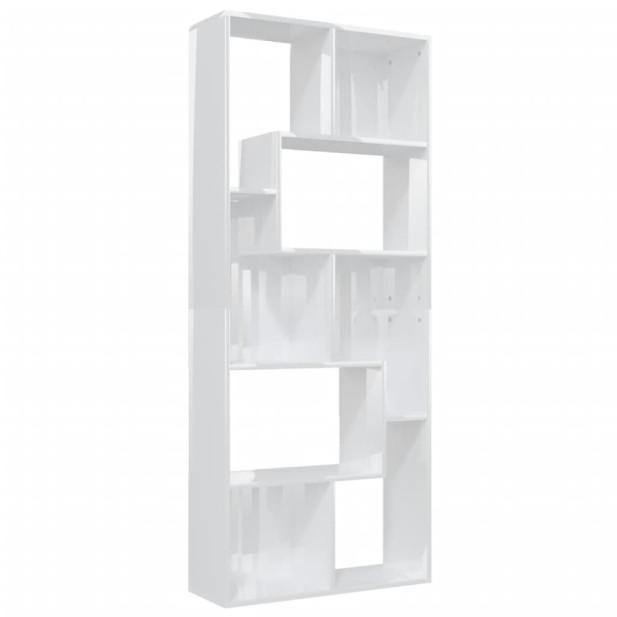 Magasfényű fehér forgácslap könyvszekrény 67 x 24 x 161 cm - utánvéttel vagy ingyenes szállítással