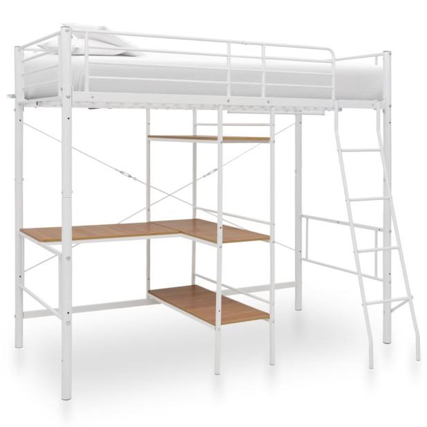 Fehér fém emeletes ágykeret asztallal 90 x 200 cm - utánvéttel vagy ingyenes szállítással
