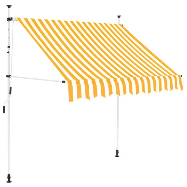 Kézzel feltekerhető napellenző sárga-fehér csíkokkal, 150 cm - utánvéttel vagy ingyenes szállítással