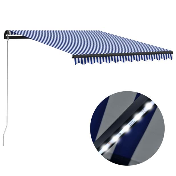 Kék és fehér kézzel kihúzható LED-es napellenző 300 x 250 cm - utánvéttel vagy ingyenes szállítással