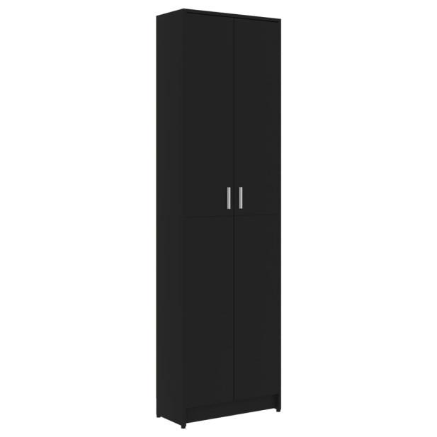 Fekete forgácslap előszobaszekrény 55 x 25 x 189 cm - utánvéttel vagy ingyenes szállítással