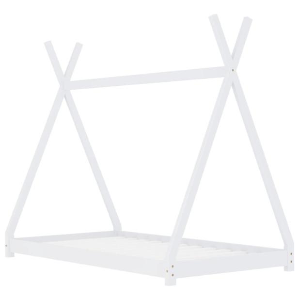 Fehér tömör fenyőfa gyerekágy-keret 70 x 140 cm - utánvéttel vagy ingyenes szállítással