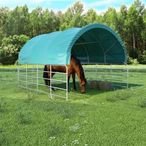 Zöld PVC állattartó sátor 3,7 x 3,7 m - utánvéttel vagy ingyenes szállítással