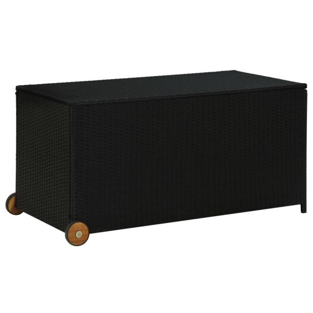 Fekete polyrattan kerti tárolóláda 130 x 65 x 115 cm - utánvéttel vagy ingyenes szállítással