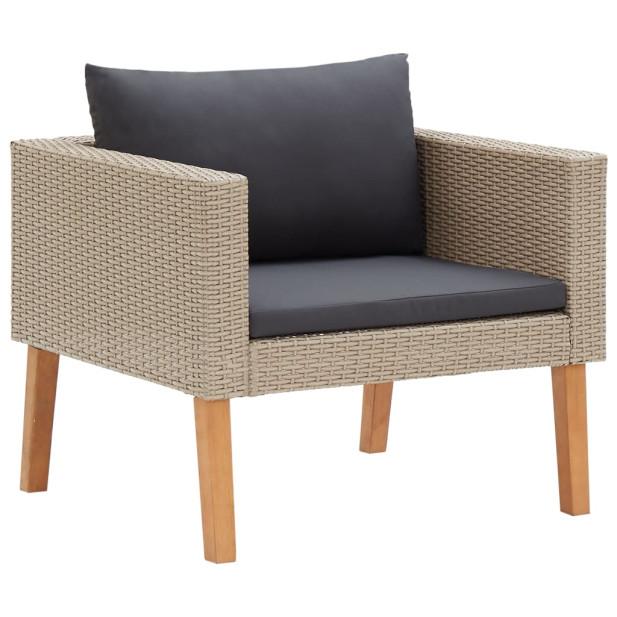 Egyszemélyes bézs polyrattan kerti kanapé párnákkal - utánvéttel vagy ingyenes szállítással