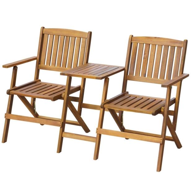 összecsukható tömör akácfa kerti pad asztalkával 140 cm - utánvéttel vagy ingyenes szállítással