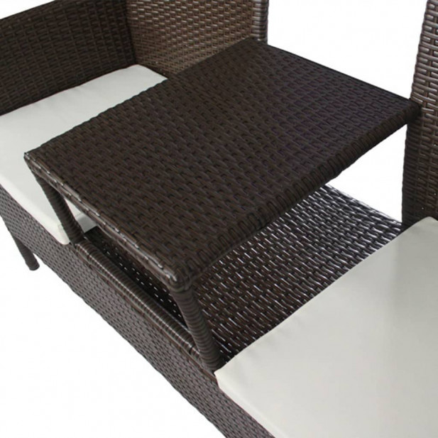 Barna kétszemélyes polyrattan kerti kanapé italtartó asztallal - utánvéttel vagy ingyenes szállítással