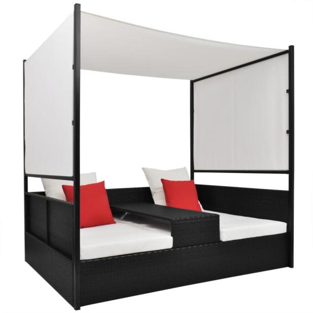 Fekete polyrattan napellenzős kerti ágy 190 x 130 cm - utánvéttel vagy ingyenes szállítással