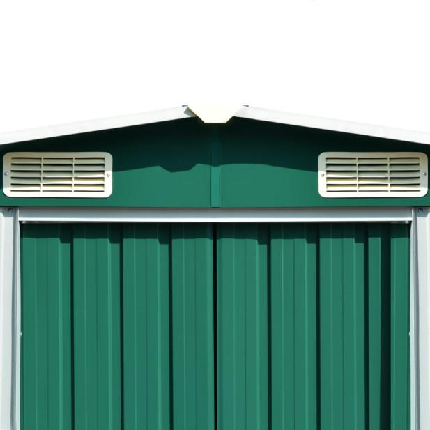 Zöld fém kerti fészer 257 x 298 x 178 cm - utánvéttel vagy ingyenes szállítással