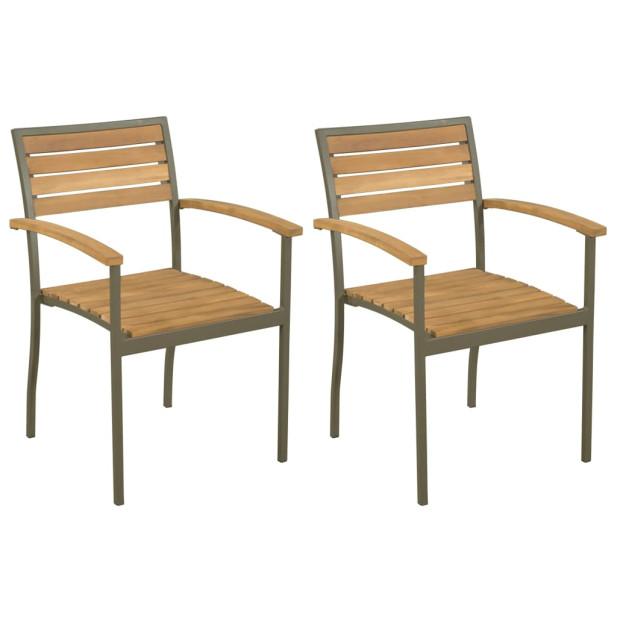 2 db rakásolható tömör akácfa és acél kültéri szék...