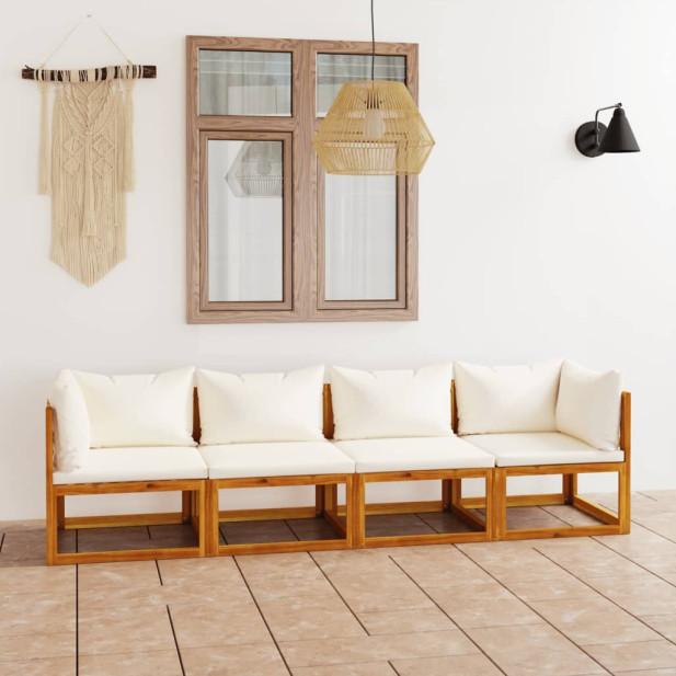4 személyes tömör akácfa kerti kanapé krémszínű párnával - utánvéttel vagy ingyenes szállítással
