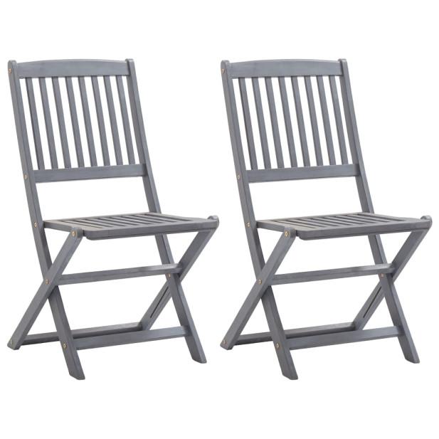 2 db összecsukható tömör akácfa kültéri szék párnával - utánvéttel vagy ingyenes szállítással