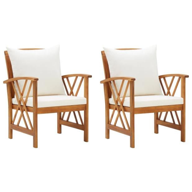 2 db tömör akácfa kerti szék párnákkal - utánvétte...