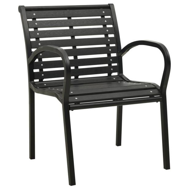 2 db fekete acél és WPC kerti szék - utánvéttel vagy ingyenes szállítással