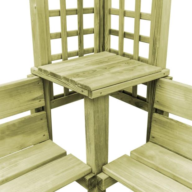 Impregnált fenyőfa sarokpergola paddal - utánvéttel vagy ingyenes szállítással