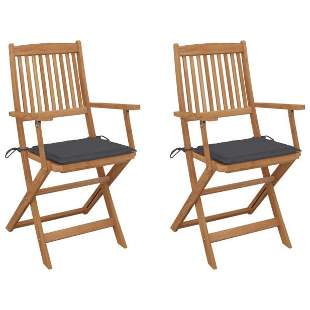 2 db összecsukható tömör akácfa kerti szék párnákkal - utánvéttel vagy ingyenes szállítással