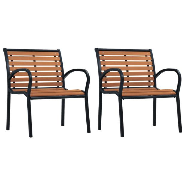 2 db fekete és barna acél és WPC kerti szék - utánvéttel vagy ingyenes szállítással