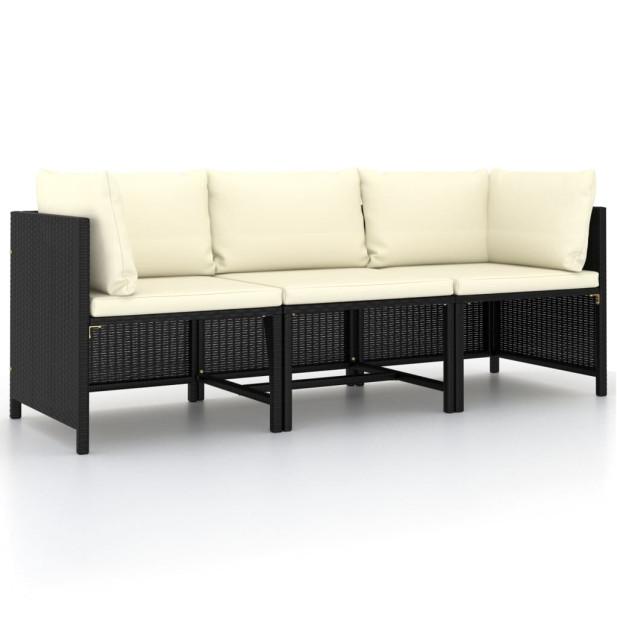 3 személyes fekete polyrattan kerti kanapé párnákkal - utánvéttel vagy ingyenes szállítással