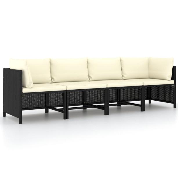 4 személyes fekete polyrattan kerti kanapé párnákkal - utánvéttel vagy ingyenes szállítással