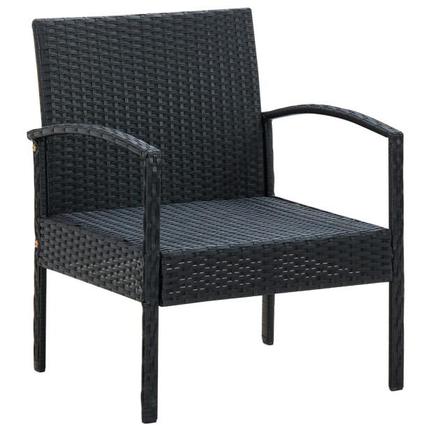 Fekete polyrattan kerti szék párnával - utánvéttel vagy ingyenes szállítással