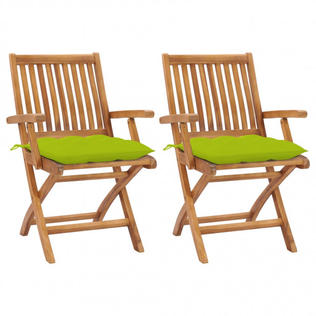 2 db tömör tíkfa kerti szék élénkzöld párnával - utánvéttel vagy ingyenes szállítással