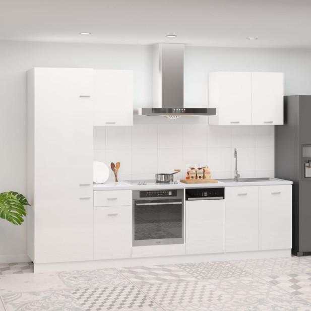 7 részes magasfényű fehér forgácslap konyhai szekr...