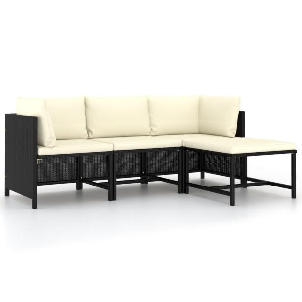 4 részes fekete polyrattan kerti kanapészett párnákkal - utánvéttel vagy ingyenes szállítással