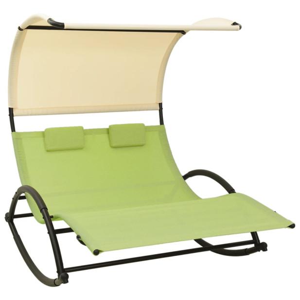 Zöld és krémszínű kétszemélyes textilén napozóágy napellenzővel - utánvéttel vagy ingyenes szállítással