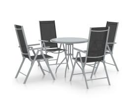 5 részes ezüst alumínium és textilén kerti étkezőgarnitúra - utánvéttel vagy ingyenes szállítással