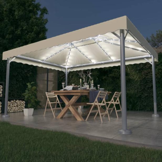 Krémszínű alumíniumpavilon fényfüzérrel 400 x 300 cm - utánvéttel vagy ingyenes szállítással