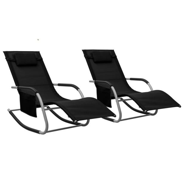 2 db fekete-szürke textilén napozóágy - utánvéttel vagy ingyenes szállítással