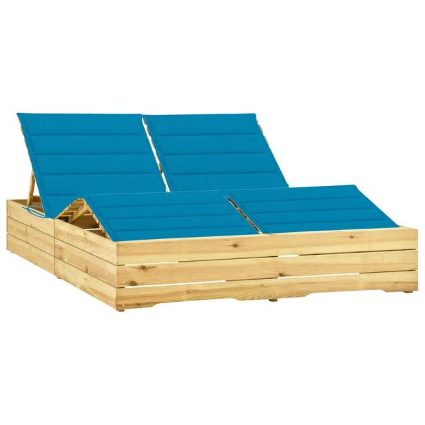 Impregnált fenyőfa kétszemélyes napozóágy kék párnákkal - utánvéttel vagy ingyenes szállítással