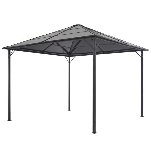 Fekete pavilon alumínium tetővel 3 x 3 m - utánvéttel vagy ingyenes szállítással