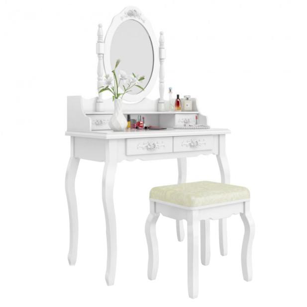 Tükrös fésülködő asztal, székkel Rome, fehér